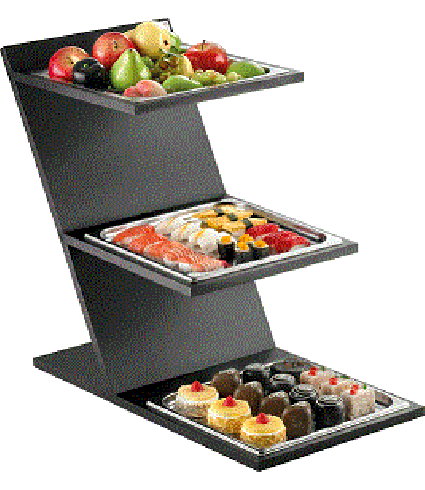 3 Level Fixed Stand with GN 2/3 squared tray
