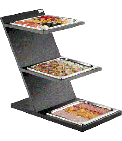 3 Levels Fixed Cold Stand with GN 2/3 squared tray