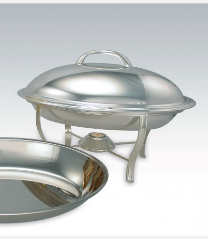 C 730 / OVAL CHAFING DISH W/CANDLE FOR FOOD CONTAINER C/58