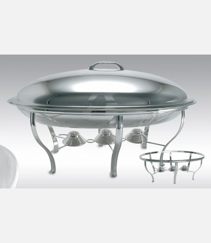 C 0733 G / OVAL CHAFING DISH WITH CANDLES, FOR FOOD CONTAINER C/65