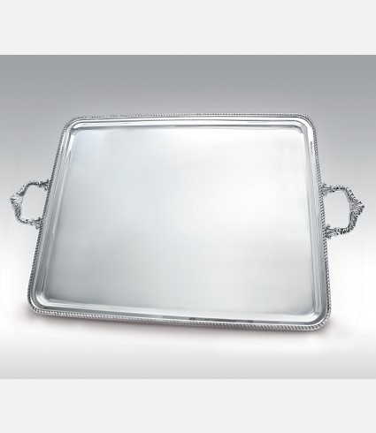 C 0485 MB / Rectangular Tray, Queen anne border, handles
