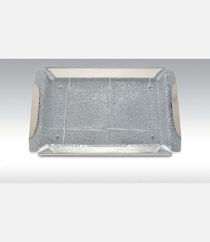 C 147 S / Rectangular Tray Silver leaf plexi base, silver plated details