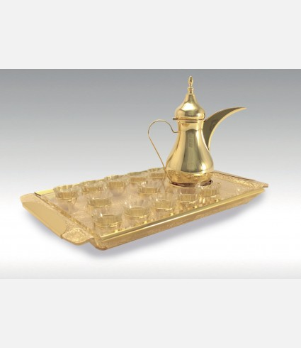 C 0146 G / Rectangular Tray , Gold leaf flexi base,Gold plated details