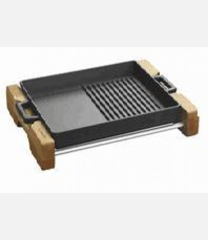 Cast Iron Griddle/Grill Duo Pan Integral metal handles and wooden service stand