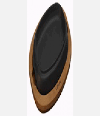 Hot Plate and wooden platter, 12.5x19cm. Oval, SERIE:ECO
