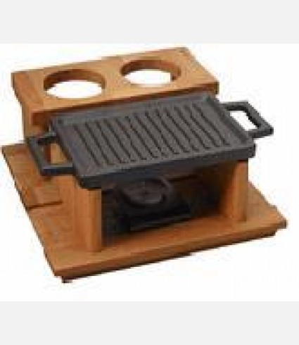 Hot Plate ve and wooden service platter, Rectangular,  22X15cm.