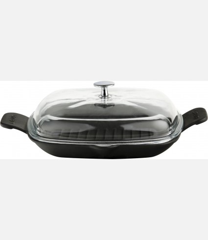Cast Iron Frying / Grill Pan Integral metal handles and glass lid
