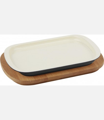 Service Dish, Rectangular, 32x20cm. w/ wooden platter, Color:Black