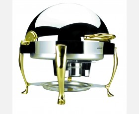 ROUND CHAFING DISH ROLL TOP W/GOLD PLATE