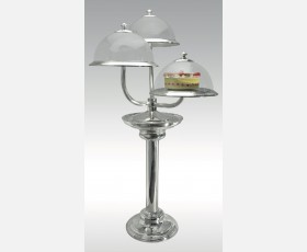 C 0810 / Cake Stand w/base Three Tiers,Transparent Plexi Cover
