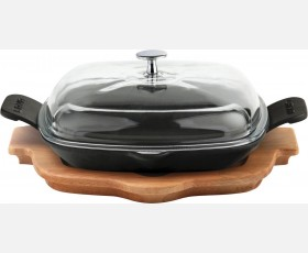 Cast Iron Frying / Grill Pan Integral metal handles, glass lid and wooden platter
