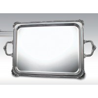 C 0493 MBD / Rectangular Tray, queen anne border shell decor and handles